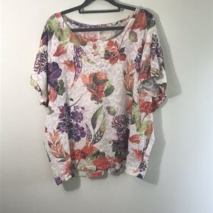 CB Short Sleeved Floral Sweater
